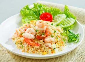 Garnelen mit Reis und Gemüse